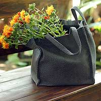 Cotton shopping bag, 'Square Gray' - Cotton Shopping Tote Bag