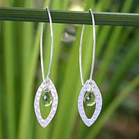 Peridot floral earrings, 'Rose Petal' - Handcrafted Sterling Silver and Peridot Earrings
