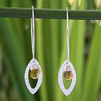 Citrine floral earrings, 'Rose Petal' - Sterling Silver and Citrine Dangle Earrings