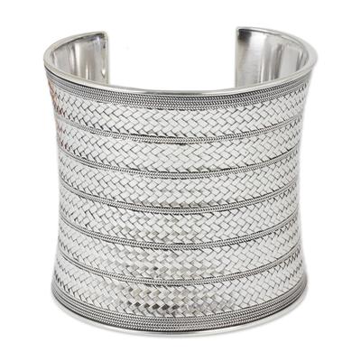 Sterling silver cuff bracelet, 'Royal Princess' - Artisan Crafted Sterling Silver Cuff Bracelet
