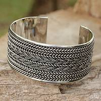 Sterling silver cuff bracelet, 'Wicker Weave'