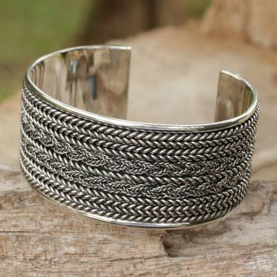 Sterling silver cuff bracelet, Wicker Weave