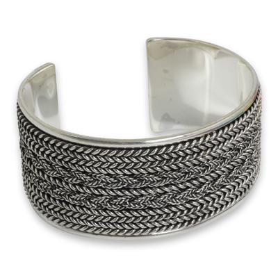 Sterling silver cuff bracelet, 'Wicker Weave' - Hand Crafted Sterling Silver Cuff Bracelet