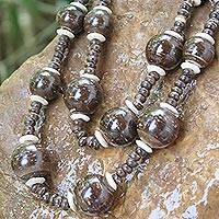 Coconut shell beaded necklace, 'Forest Fiesta'