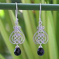 Onyx heart earrings, 'Celebrate Love' - Sterling Silver and Onyx Dangle Earrings