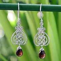 Garnet heart earrings, 'Celebrate Love' - Garnet heart earrings