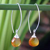 Sterling silver dangle earrings, 'Sublime Sunset' - Sterling Silver and Chalcedony Dangle Earrings