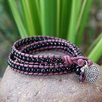 Onyx wristband bracelet, 'Heart of Love' - Leather and Onyx Wrap Bracelet
