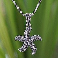 Marcasite pendant necklace, 'Starfish Dance' - Sterling Silver and Marcasite Pendant Necklace