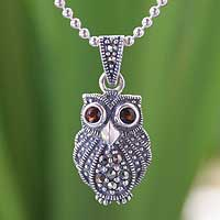 Marcasite and garnet pendant necklace, 'Little Owl' - Silver and Marcasite Owl Necklace