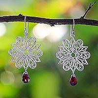 Garnet dangle earrings, 'Snowflake' - Garnet dangle earrings