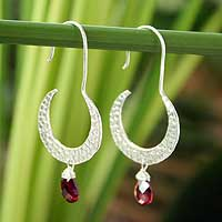Garnet dangle earrings, 'Moon Smile' - Garnet dangle earrings
