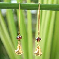 Gold vermeil garnet earrings, 'Bright Berry' - Gold vermeil garnet earrings