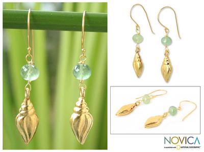 Gold vermeil prasiolite earrings, 'Seashell' - Handmade Gold Vermeil Prasiolite Earrings