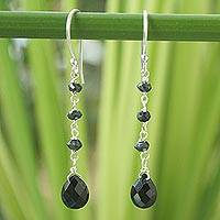 Onyx dangle earrings, 'Lady' - Unique Sterling Silver and Onyx Earrings