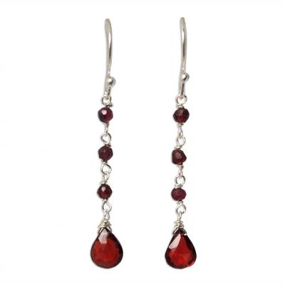 Garnet dangle earrings, 'Lady' - Hand Crafted Sterling Silver and Garnet Earrings
