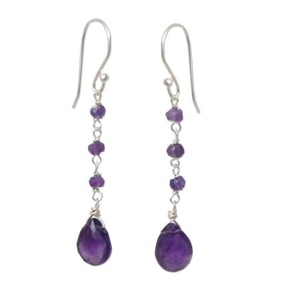 Amethyst dangle earrings, 'Lady' - Handmade Amethyst Dangle Earrings