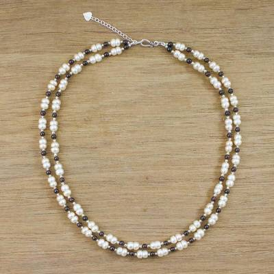 Pearl and garnet strand necklace, 'Romantic Thai' - Pearl and Garnet Strand Necklace