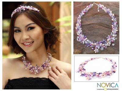 Pearl and amethyst flower necklace, 'Lavender Romance' - Handmade Bridal Rose Quartz and Pearl Necklace