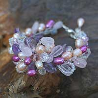 Pearl and amethyst flower bracelet, 'Lavender Romance' - Artisan Crafted Pearl and Quartz Bracelet from Thailand