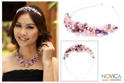Pearl and amethyst flower headband, 'Lavender Romance' - Hand Made Thai Beaded Headband