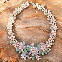 Pearl and rose quartz flower necklace, 'Spring Garland'