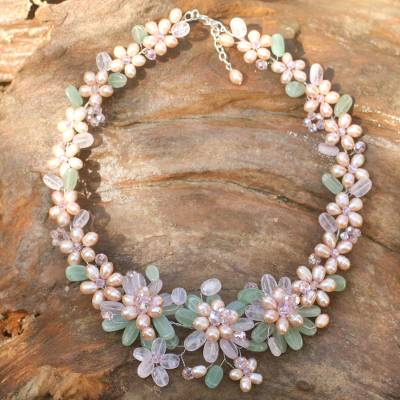 Pearl and rose quartz flower necklace, 'Spring Garland' - Handmade Rose Quartz and Pearl Necklace