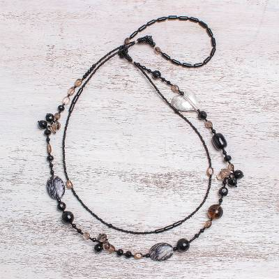 Smoky quartz and onyx heart necklace, 'Love Night' - Smoky quartz and onyx heart necklace