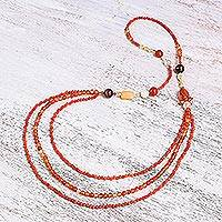 Carnelian and citrine long beaded strand necklace, 'On Fire' - Carnelian and citrine strand necklace