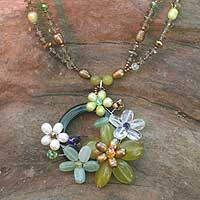 Pearl and quartz flower necklace, 'Floral Moon' - Handcrafted Floral Pendant Necklace from Thailand