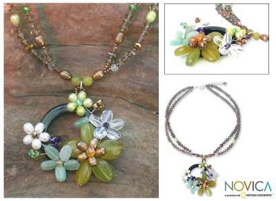 Pearl and quartz flower necklace, 'Floral Moon' - Hand Made Floral Quartz and Pearl Necklace