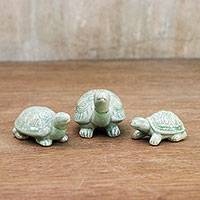 Celadon ceramic statuettes, 'Lucky Turtles' (set of 3)