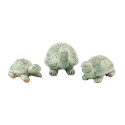 Celadon Ceramic Sculptures (Set of 3)