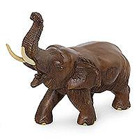 Wood sculpture, 'Elephant Delight' - Unique Handcrafted Wooden Elephant Sculpture