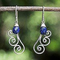 Lapis lazuli dangle earrings, 'Chiang Mai Dew'