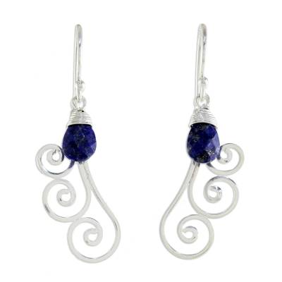Lapis lazuli dangle earrings, 'Chiang Mai Dew' - Artisan Crafted Sterling Silver and Lapis Lazuli Earrings