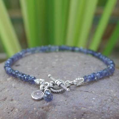 Iolite beaded bracelet, 'Creative Twilight' - Beaded Iolite Bracelet