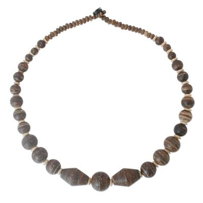 Coconut shell beaded necklace, 'Coco Breeze' - Unique Wood and Coconut Shell Beaded Necklace
