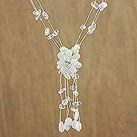 Rainbow moonstone and pearl flower necklace, 'Fantasy'