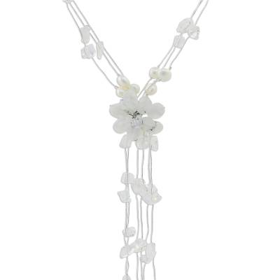 Rainbow moonstone and pearl flower necklace, 'Fantasy' - Rainbow moonstone and Pearl Flower Necklace