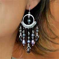 Pearl and onyx chandelier earrings, 'Black Ruffles' - Onyx and Pearl Chandelier Earrings