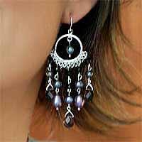 Pearl and onyx chandelier earrings, 'Black Ruffles' - Onyx and Pearl Chandelier Earrings
