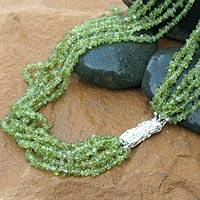 Peridot  torsade necklace, 'Lime Mist'