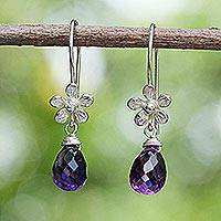 Amethyst flower earrings, 'Iris Daisy' - Amethyst and Sterling Silver Flower Earrings