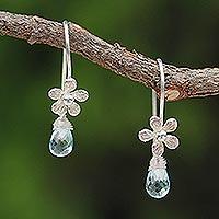 Blue topaz flower earrings, 'Sky Daisy'
