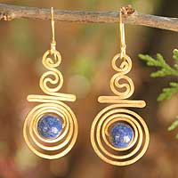 Gold plated lapis lazuli dangle earrings, 'Follow the Dream' - Unique Gold Plated Brass Earrings from Thailand
