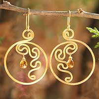 Gold plated citrine dangle earrings, 'Moon Flower'