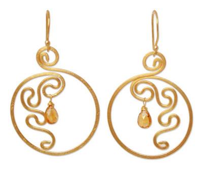 Gold plated citrine dangle earrings, 'Moon Flower' - Modern Gold Plated Citrine Earrings from Thailand