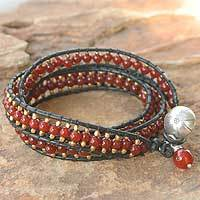 Carnelian wrap bracelet, 'Bright Day' - Leather and Carnelian Beaded Bracelet from Thailand