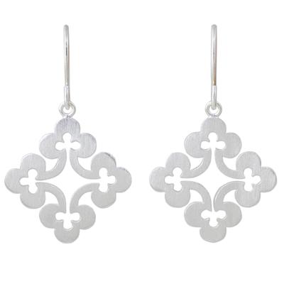 Sterling silver dangle earrings, 'Floral Cross' - Thai Sterling Silver Dangle Earrings